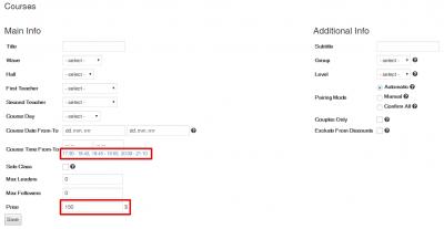 Easy School Registration - Default values in Course editor